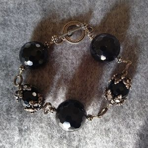 Faceted Black Bead Silver Bracelet